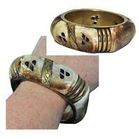 Bracelet manchette ethnique ancien en os de chameau et laiton couleur or bijou