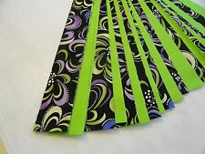 "Honey buns   1 1/2"" x 44""  20 pieces 10 lime green 10 patterned jelly roll"