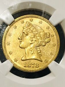 1878-S LIBERTY HEAD HALF EAGLE $5 GOLD NGC AU 58