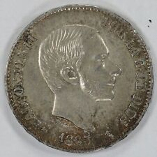 1885 PHILIPPINES 50 CENTIMOS KM# 150 AU ABOUT UNCIRCULATED DETAILS (8419)