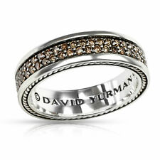 $2350 DAVID YURMAN MENS SILVER COGNAC DIAMOND RING