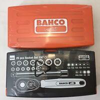 "BAHCO SL25 25pc 1/4"" SOCKET SET 4mm - 13mm t10-T40 ph2 h5 h6 RATCHET EXTENSION"