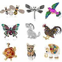 New Fashion Crystal Animal Bee Butterfly Elephant Brooch Pin Women Party Jewelry