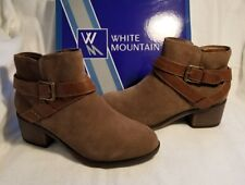 White Mountain Yonder Tan SUEDE Leather Fashion Ankle High Heel Booties 6.5 $90