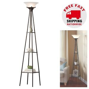 Tall Modern Floor Lamp Charcoal Finish Shelf Light Living Room Home Office Study