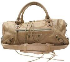 Authentic Balenciaga City Bag KhakI Tan Leather Moto fringe studded Bag Italy