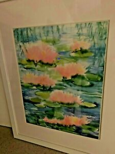 """Lily Pond Reflections Metal Framed Art Print 15"""" x 12"""" water flowers quiet place"""