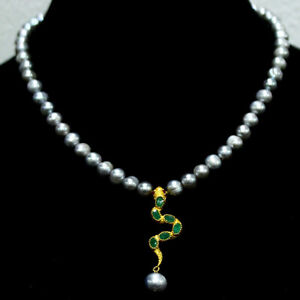 """NATURAL GRAY PEARL, EMERALD & RUBY PENDANT & NECKLACE 18"""" 925 STERLING SILVER"""