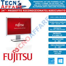 "Monitor LED 24""16:10 1920x1200 VGA DVI USB DisplayPort Ricondizionato Fujitsu"