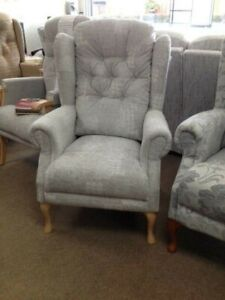 Queen Anne high seat chair, Choice of colours. Wing chair. Suite Deal of Bexley.