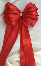 """Large 8"""" Satin Ribbon bow with tails Red/Gold/Silver"""