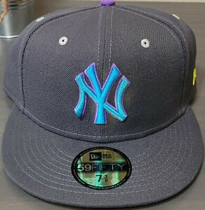 MLB New York Yankees New Era 59FIFTY Graphite Pop Flourescent Green UV Brand NEW