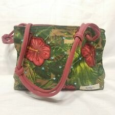 PAUL Brent Sun N Sand Purse Shoulder Bag Canvas green with flowers