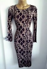Womens Bodycon Pencil Wiggle Long Sleeve Casual Printed Knee Midi Dress