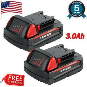 2x For 18V Milwaukee 48-11-1828 3.0 AH Battery M18 XC Lithium 48-11-1830 1850 US