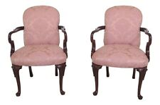 46511EC: Pair Solid Cherry Queen Anne Damask Upholstered Arm Chairs