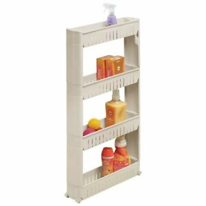 mDesign Portable Rolling Laundry Utility Cart Organizer with 4 Shelves - Taupe