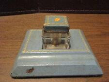 Vintage Glass Ink Well - Pen Holder - Blue Leather Covered Desk Set