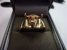 Unique 9 Carat Solid Gold Ring with Buffalo Head 6.9 grams Size W