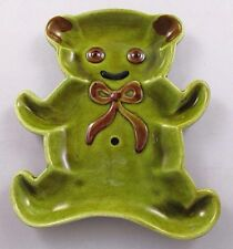 Vtg Los Angeles Potteries Ceramic Green & Brown Teddy Bear Candy Dish Spoon Rest