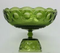 "Beautiful Vintage Green Glass Pedestal Bowl with Scalloped Edge 6.5"" Tall"