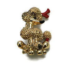 """Vintage 1950s 1960s Gold-Toned Metal Red Enamel Poodle Pin Brooch Unsigned 1.25"""""""