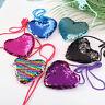 CUTE KID GIRLS SEQUINS HEART COIN PURSE CROSSBODY SHOULDER BAG SLING WALLET HOT