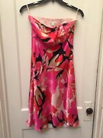 BANANA REPUBLIC STRAPLESS SILK FLORAL DRESS SIZE 4