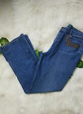 Vtg Ralph Lauren women size 12 high waist denim beaded embroidery boot cut jeans