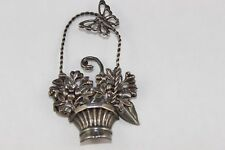 GORGEOUS LANG STERLING SILVER FLORAL BASKET  PIN/BROOCH