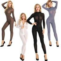 Women Sexy Sheer Jumpsuit Double Zipper Long Sleeve Bodysuit Lingerie Nightwear