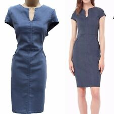 Phase Eight Magda Grey Soft Denim Stretch Office Cocktail Wiggle Dress 18 UK