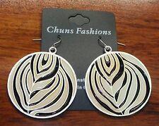Chuns Fashion Designed Zebra Stripped Black & White Dangle Drop Earrings *NEW*