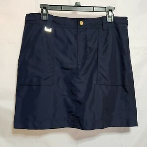 Ralph Lauren Golf Athletic Navy Blue Skort Size 12 Pockets Front Zipper