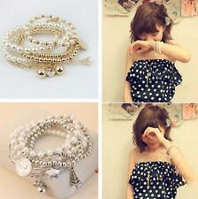 Fashion Multilayer Women's Gold Metal Pearl Beads Pendant Chain Bracelet Jewelry