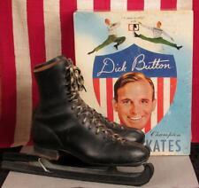 Vintage Dick Button Black Leather Ice Skates with Orig.Box Endicott Johnson Sz.9