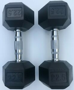 BRAND NEW 22.5LB PAIR OF RUBBER COATED HEX DUMBBELLS WEIGHTS FOR COMMERCIAL GYM