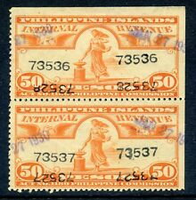 Philippines Pi W-626 Var. Internal Revenue Used Pair Of Stamps Control # Errors
