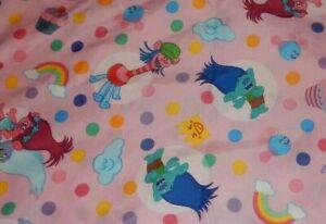 Set of 2 TREASURE TROLLS Pink Microfiber Flat Toddler Bed Sheets (Fabric)
