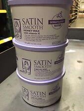 Lot 3 Cans Satin Smooth Honey Wax With Vitamin-E 14Oz Ea