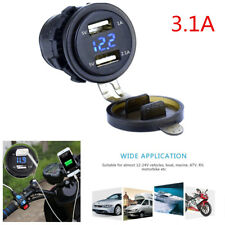 1X Waterproof Motorcycle Car Dual USB Charger Socket Power Outlet 3.1A Voltmeter