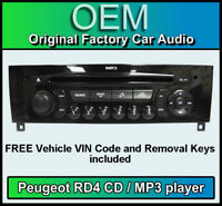 Peugeot 308 car stereo MP3 CD player Peugeot RD4 radio + FREE Vin Code, keys