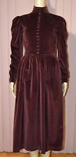 Vintage 90s Ralph Lauren Red Velvet Victorian Style Dress Women's Small 6