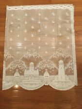 "2Tiers Heritage Lace Lighthouse White Coastal Scalloped Window Cafe Tier 60""x36"""