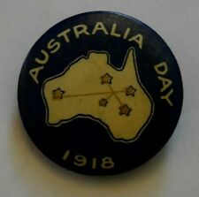Scarce Australia Day Wwi (1918) Blue/White Map Pin Back, Button Badge, Clear