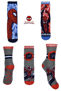 Kids Boys Official Licenced Marvel Spider-Man Non-Slip Slipper Socks  3 Colours