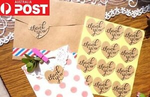 100 Love Heart Thank You Stickers Labels DIY Scrapbooking Craft Vintage Rustic