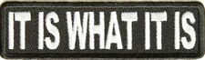 IT IS WHAT IT IS EMBROIDERED  BIKER LEATHER VEST PATCH
