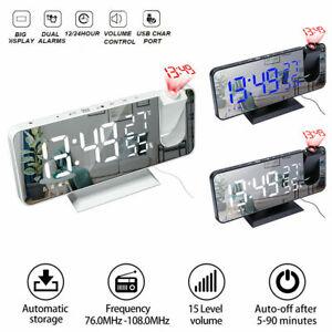 Radiowecker mit Projektion Funkuhr LED, USB, Funk, Projektion, Funkwecker