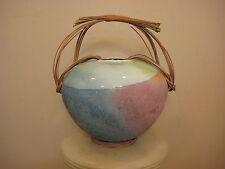 "Vintage Tony Evans Raku California Art Pottery Vase, Signed, 11"" Tall, 7.6 lbs"
